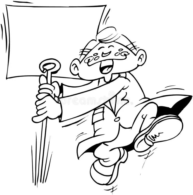 Man With Sign Template Cartoon Vector Clipart Stock Vector