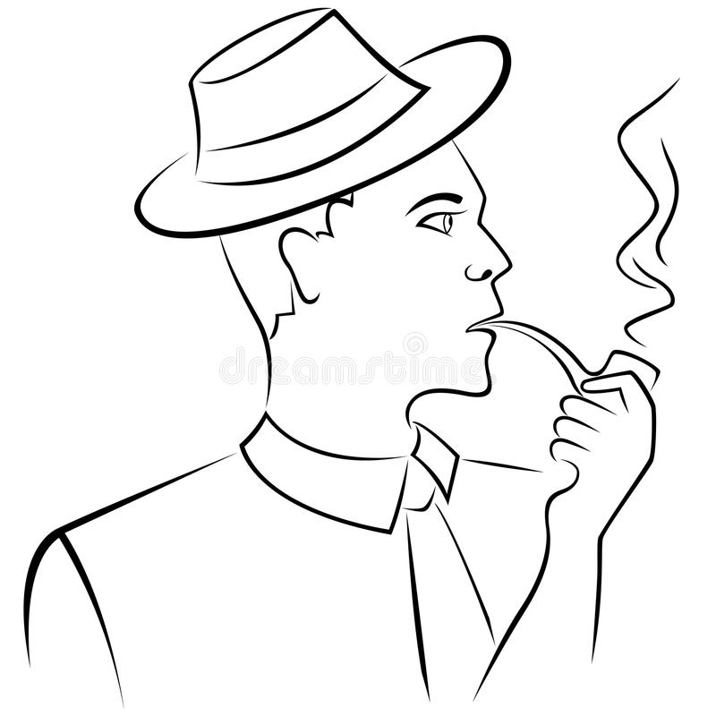 Man In Retro Hat Smoking Pipe Outline Vector Image Of