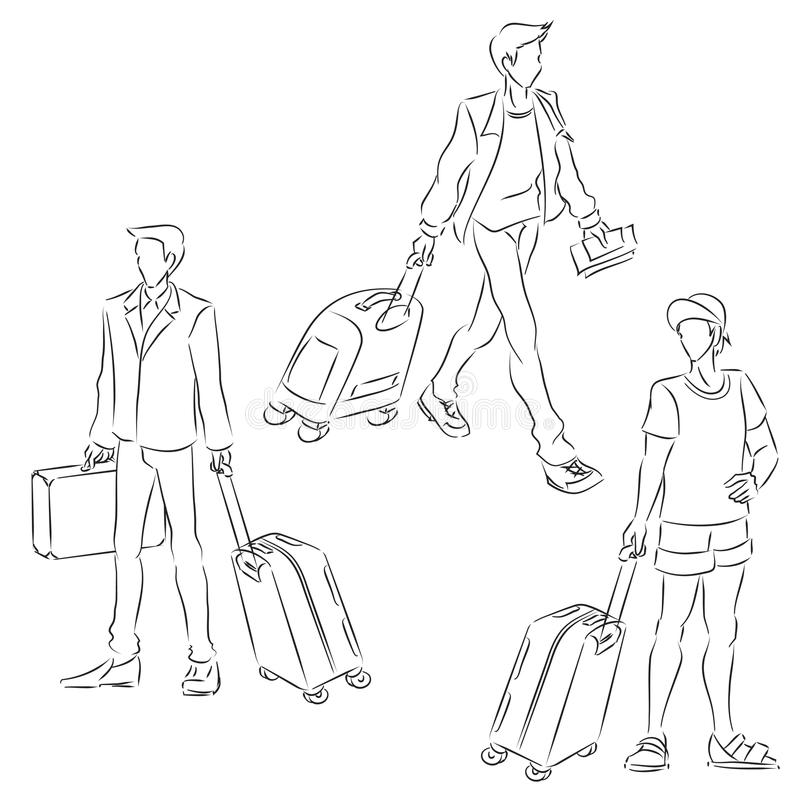 Man With Suitcase Stock Vector Image Of Drawing Black