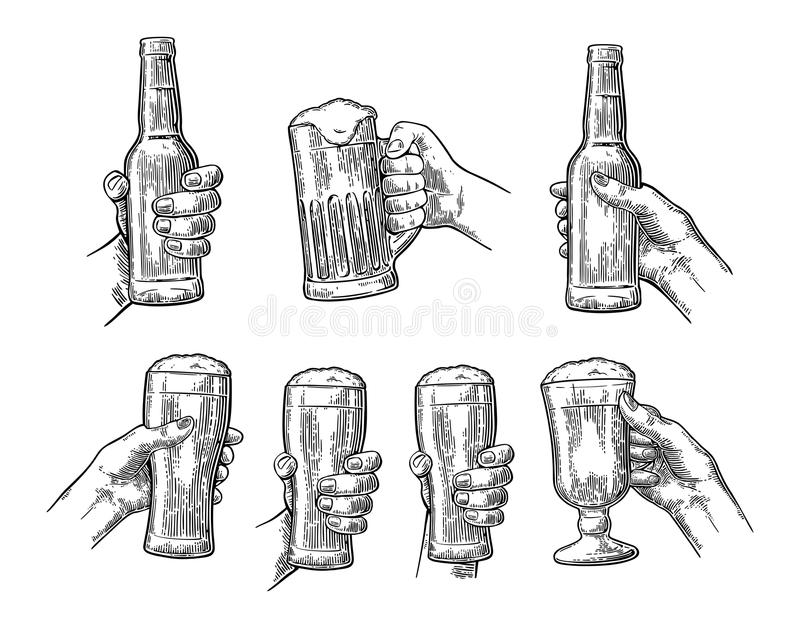 Man And Woman Hands Holding, Clinking With Beer Glass