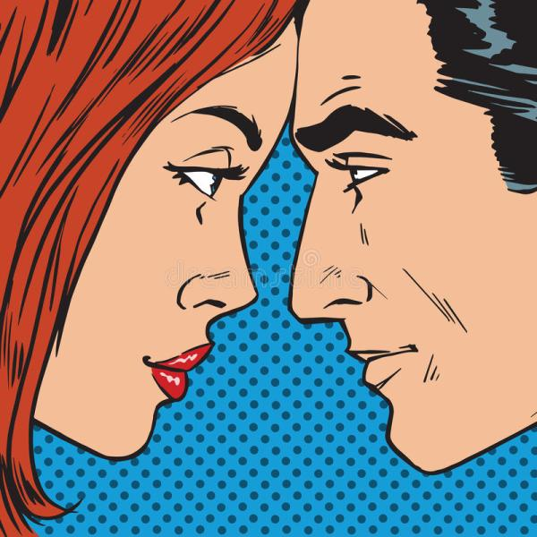 Man And Woman Face Pop Art Comics Retro St Stock Illustration