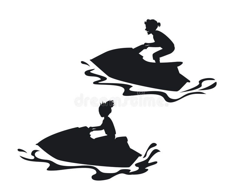 Aqua Jetski With Rider Isolated Top View Stock Vector