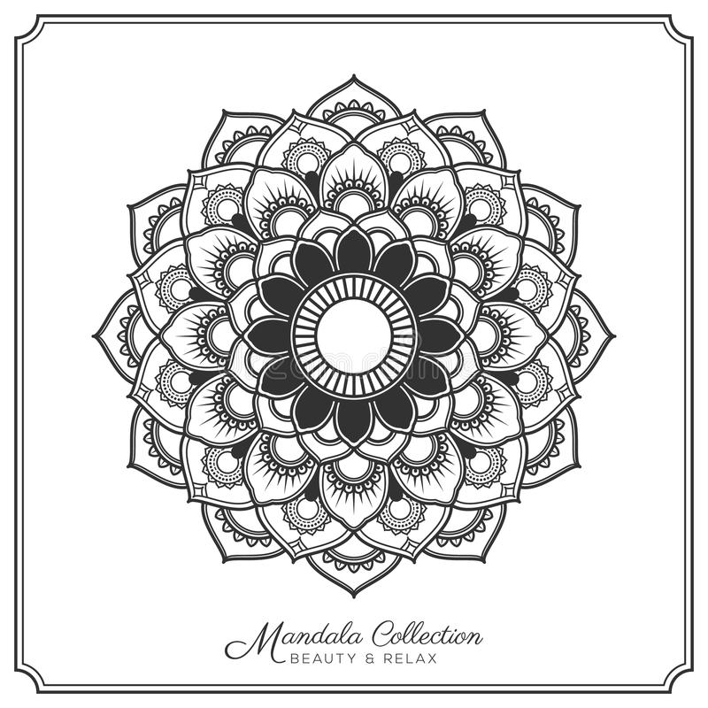 Adult Coloring Page, Mandala With Flowers. Stock Vector
