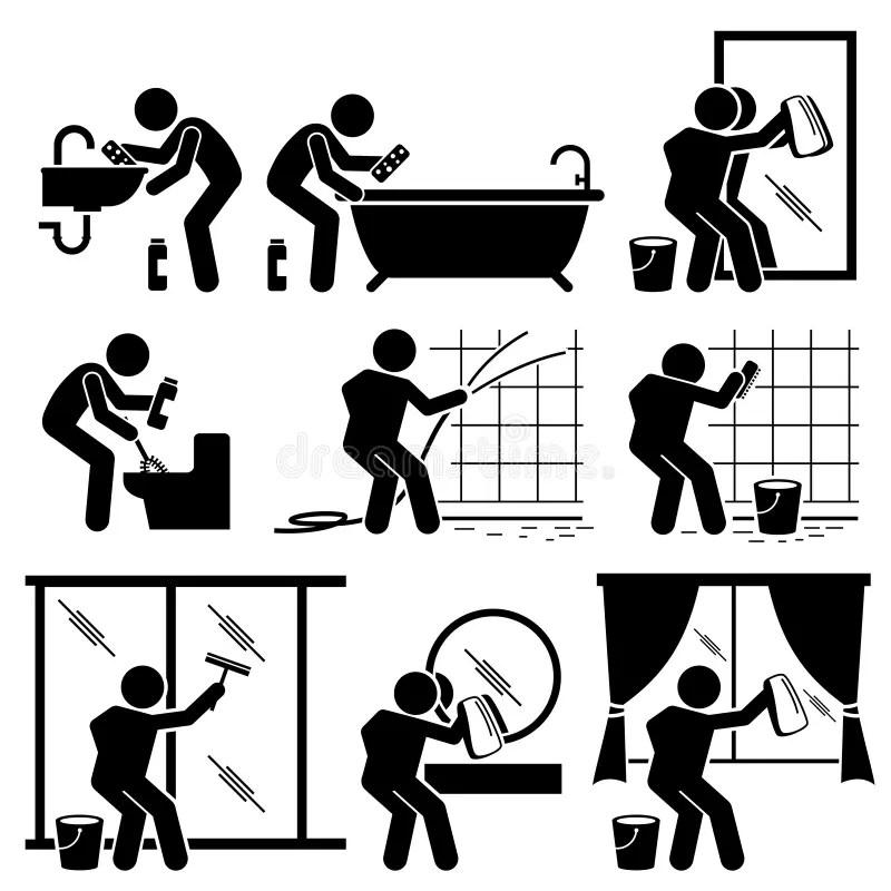 Mann-Reinigungs-Badezimmer-Toilette Windows Und Spiegel