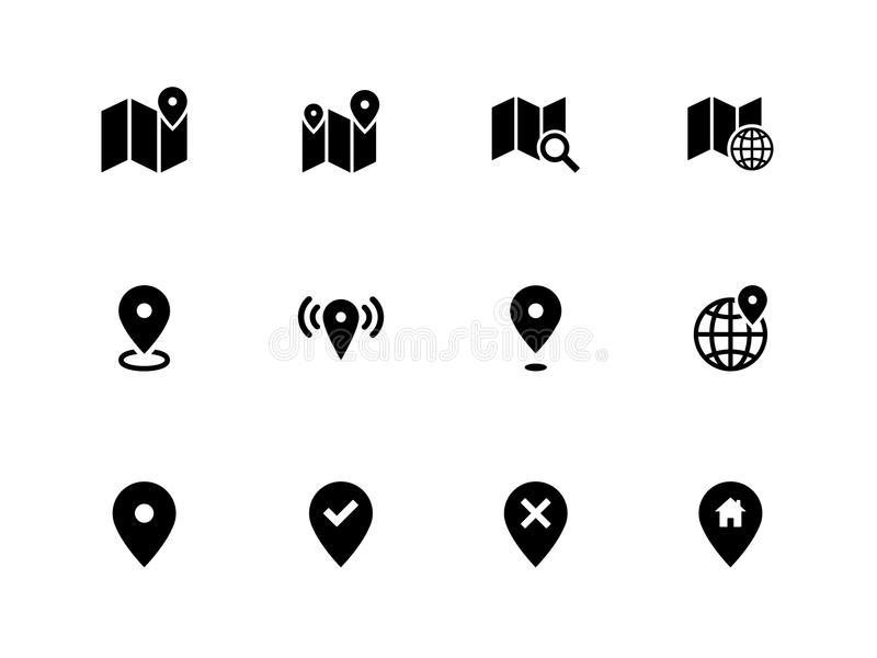Map Icons On White Background. GPS And Navigation. Stock