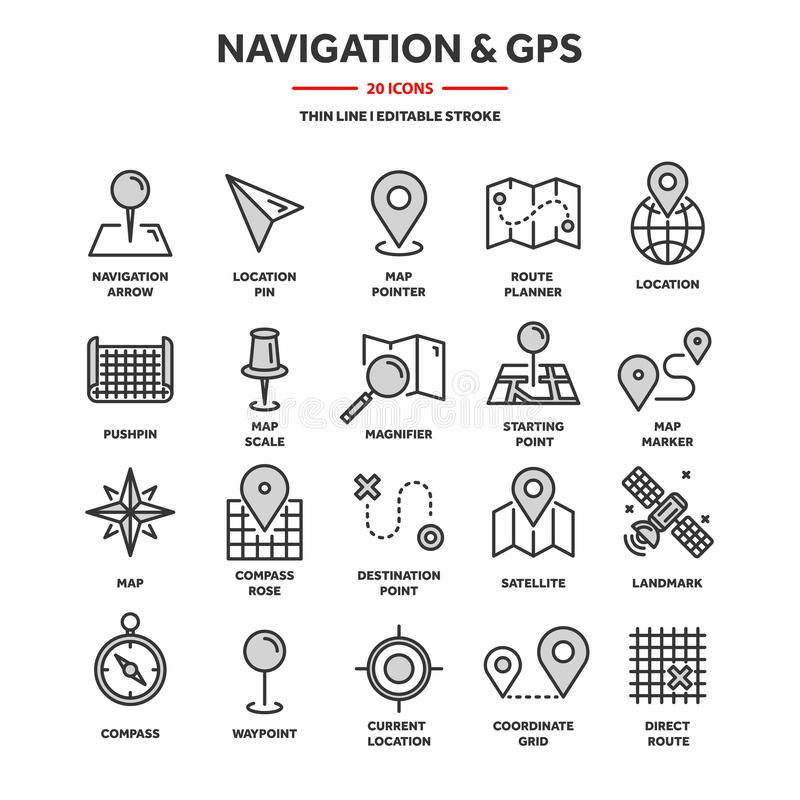 Location And Navigation Line Icons Stock Vector