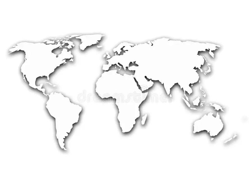 Mappa Del Mondo Con Ombra Su Fondo Bianco Illustrazione