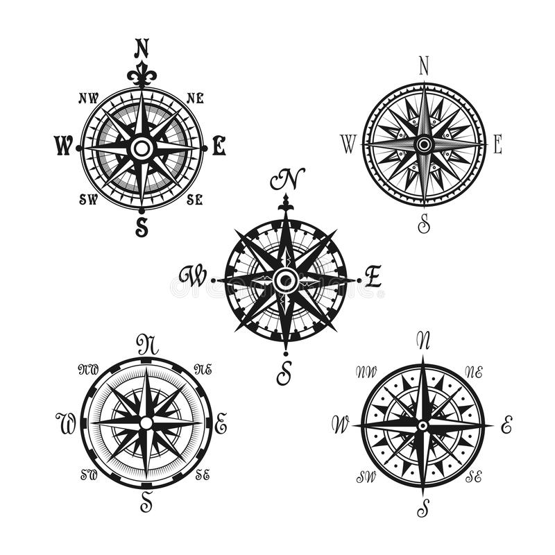 Marine Or Nautical Compass Navigation Vector Icons Stock