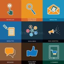 Marketing Social Media Seo & -commerce - Concept Vector