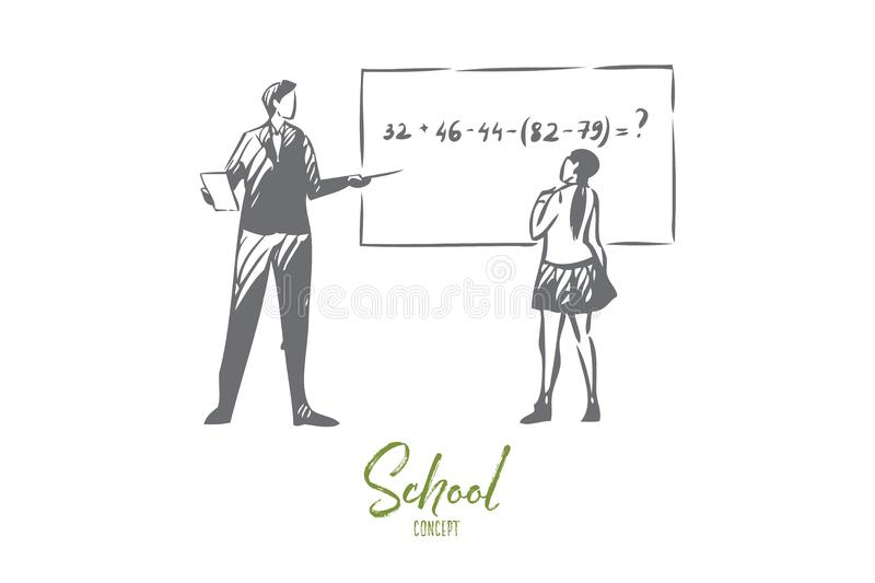 Teacher With Student Vector Illustration Isolated Stock