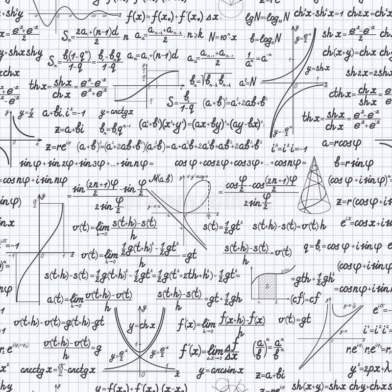 Math Vector Seamless Pattern Background Notebook Stock