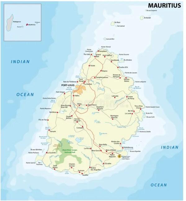 Mauritius road map stock illustration Illustration of