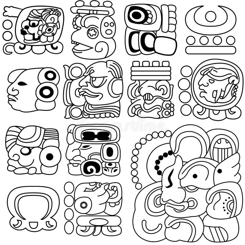 Mayan hieroglyphs stock vector. Illustration of geometric