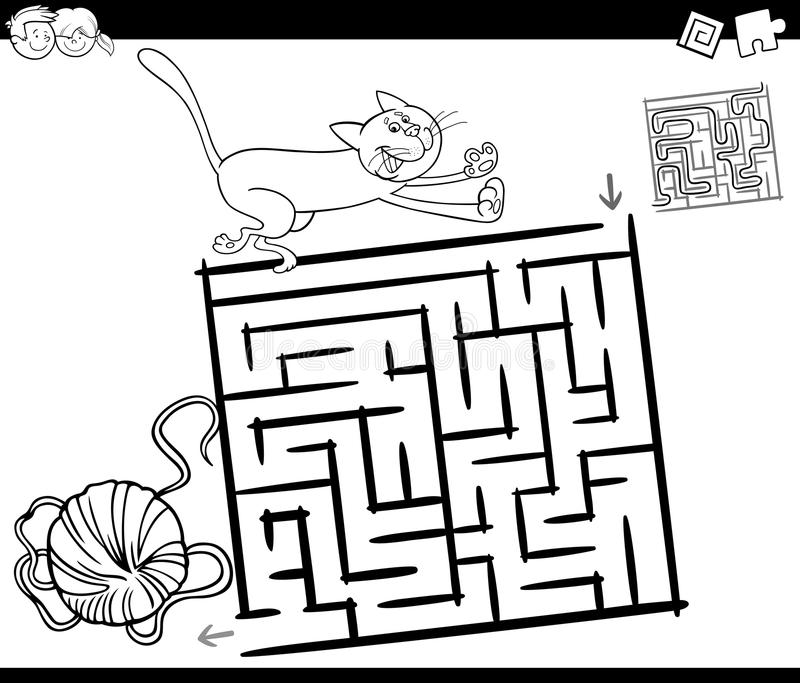 Maze With Cat And Wool Coloring Page Stock Vector
