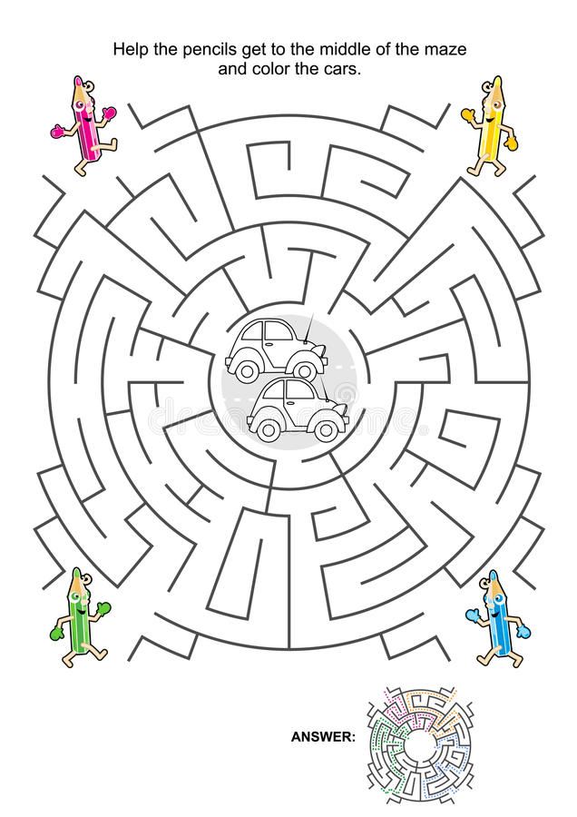 Maze Game For Kids With Cars, Pencils And Coloring Stock
