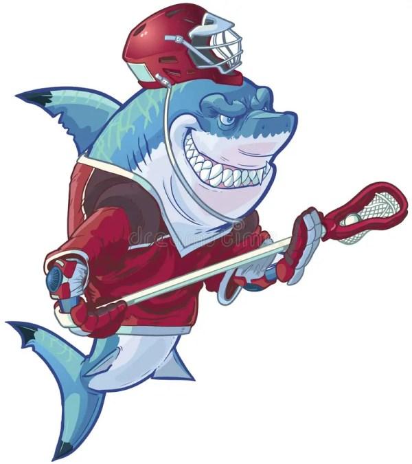 Cartoon Lacrosse Shark With Equipment Stock Vector