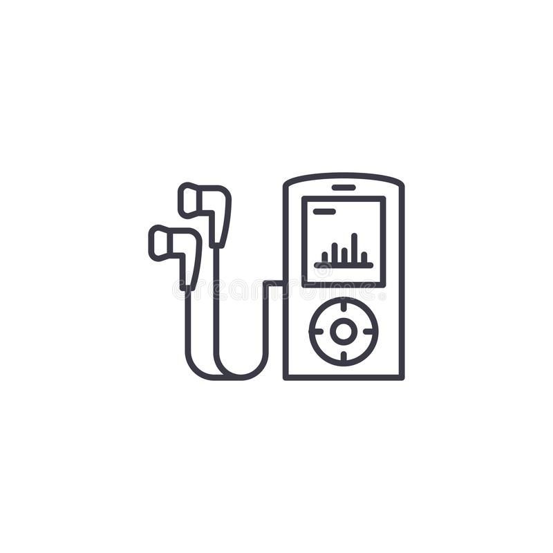 Online Audio Lessons Linear Icon Concept. Online Audio