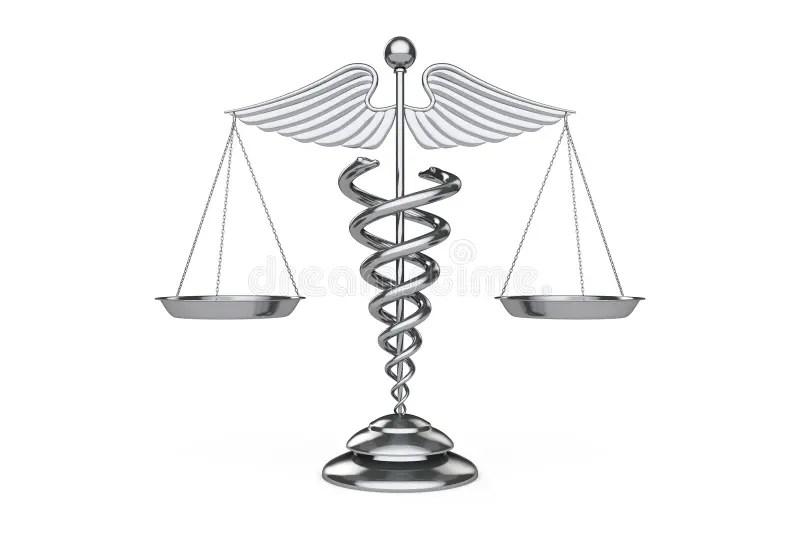 Medical Caduceus Symbol As Scales. 3d Rendering Stock