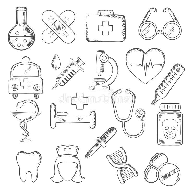 Medical And Healthcare Icons Sketches Stock Vector
