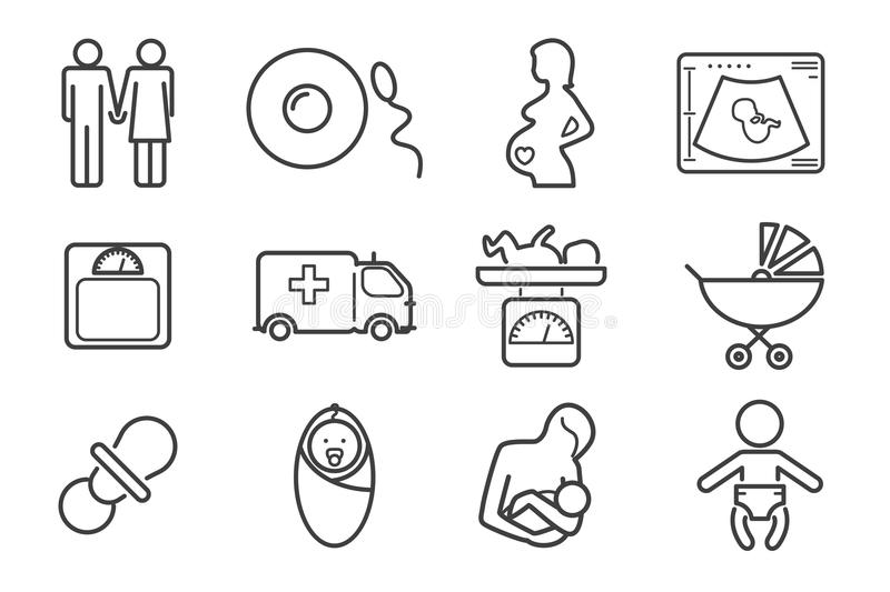 Medicine And Pregnancy Vector Line Icons Set Stock Vector