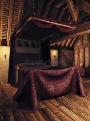medieval bedroom fantasy candles wooden candle illustration lamps preview