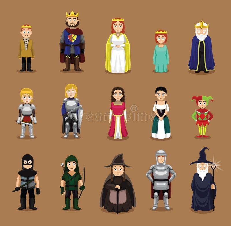 Medieval Characters Set Cartoon Vector Illustration Stock