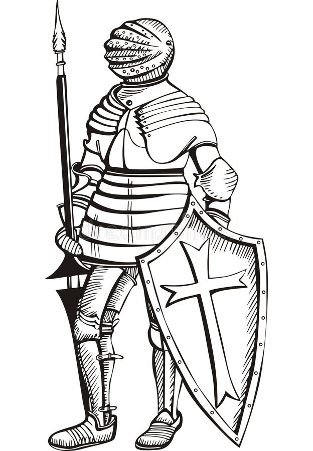 Medieval knight stock vector. Image of pike, brave