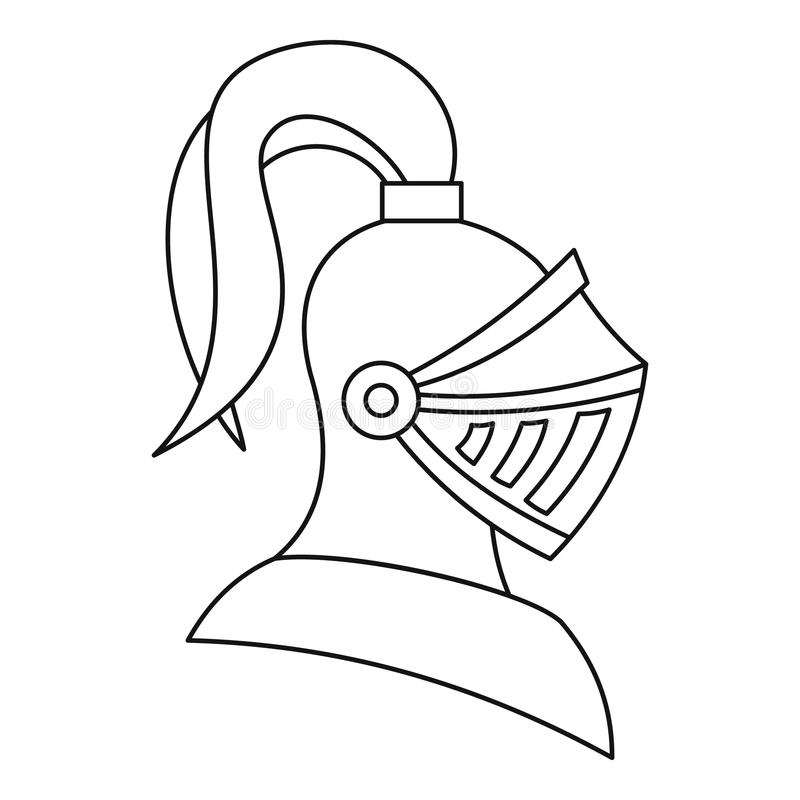 Medieval Knight Helmet Icon, Outline Style Stock Vector