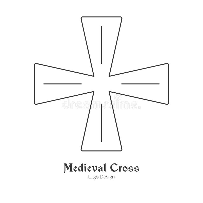 Medieval Logo Emblem Template With Outline Icon Stock