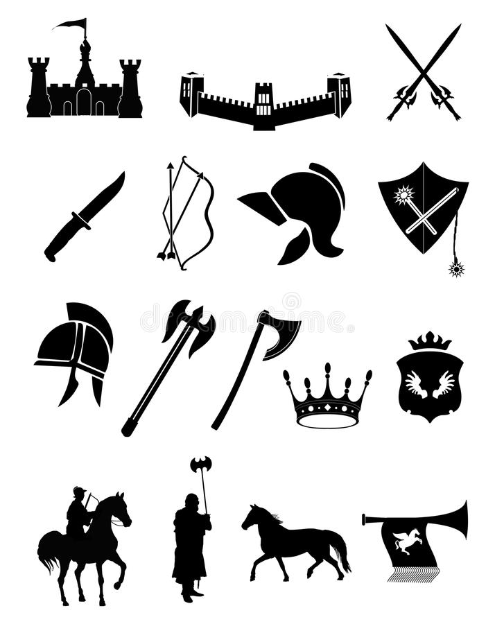 Medieval weapons stock illustration. Illustration of