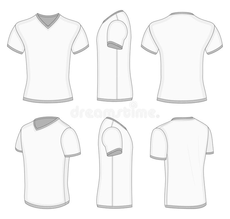 Men's White Short Sleeve Polo Shirt. Stock Vector
