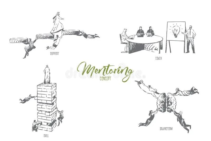 Banner mentoring concept stock illustration. Illustration