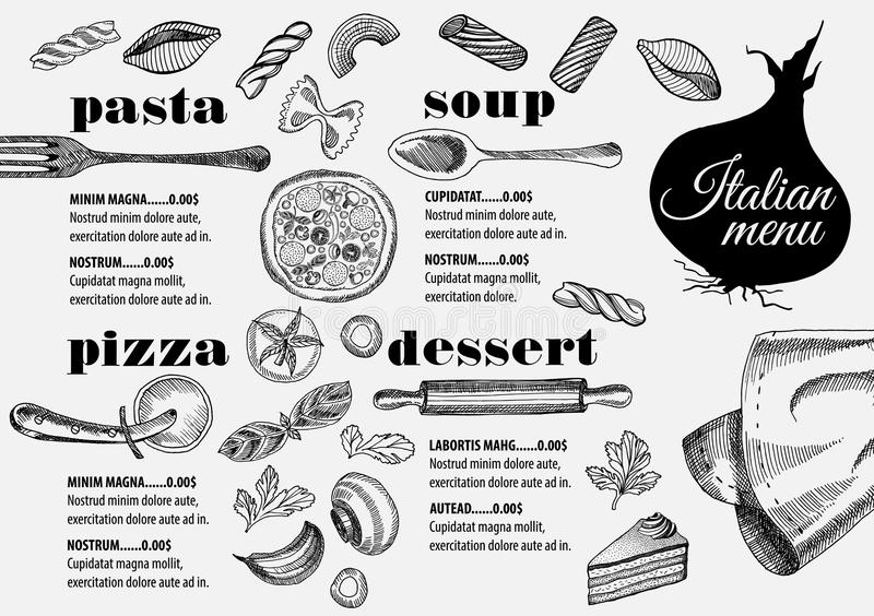Menu Italian Restaurant, Food Template Placemat. Stock