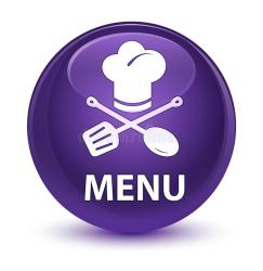 menu button restaurant icon round glassy brown square middle purple isolated abstract orange ribbon elegant yellow