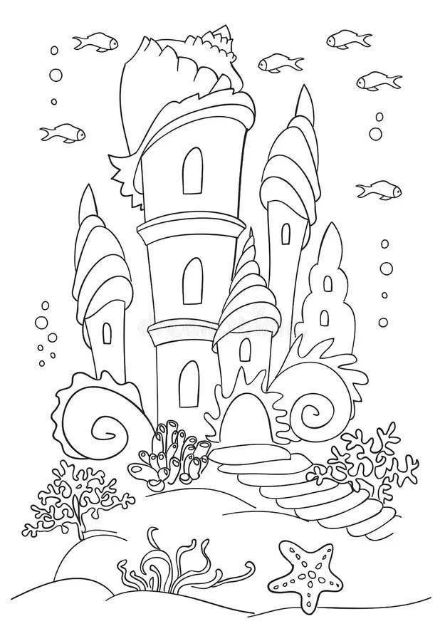 Mermaid S Castle At Ocean Bottom. Stock Vector