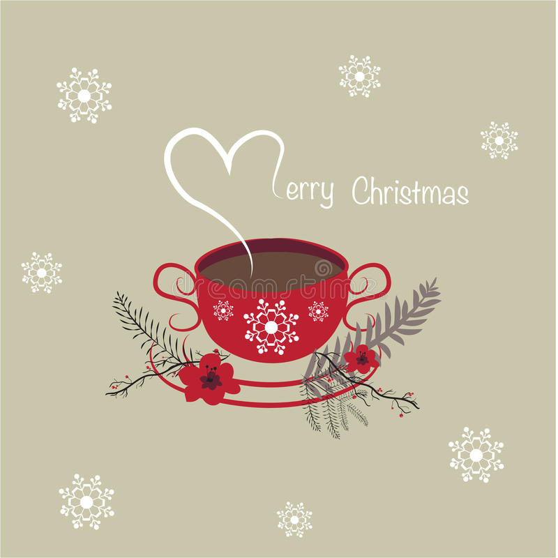 Merry Christmas Coffee Cup Background Stock Illustration