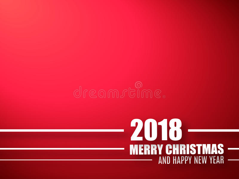 Merry Christmas And Happy New Year Red Background 2018