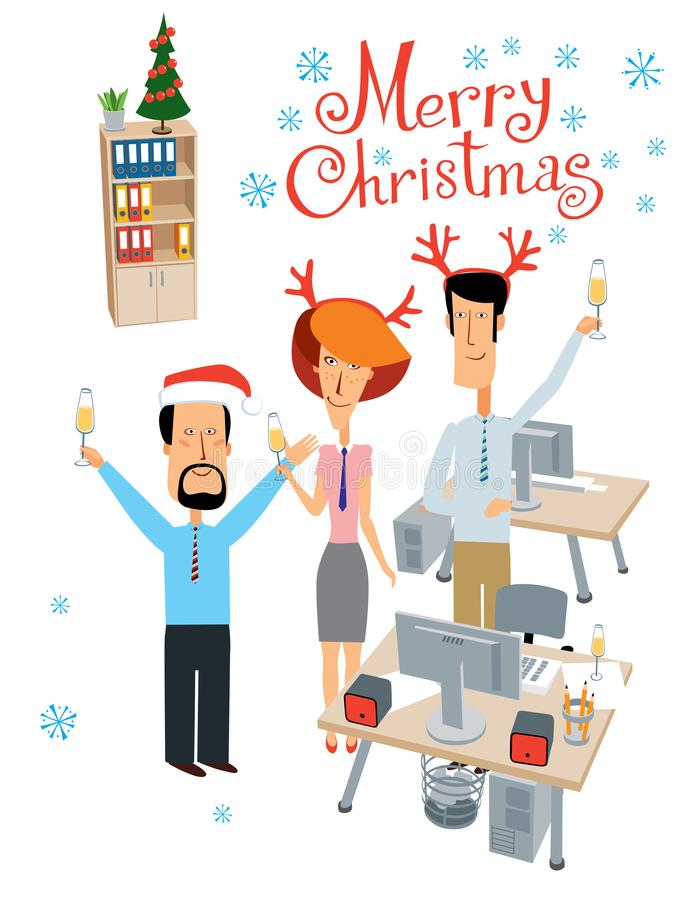 Office Christmas Party Cartoon Images : office, christmas, party, cartoon, images, Merry, Christmas., Party, Office., Cheerful, Colleagues, Celebrate, Stock, Vector, Illustration, Card,, Emotional:, 156278909