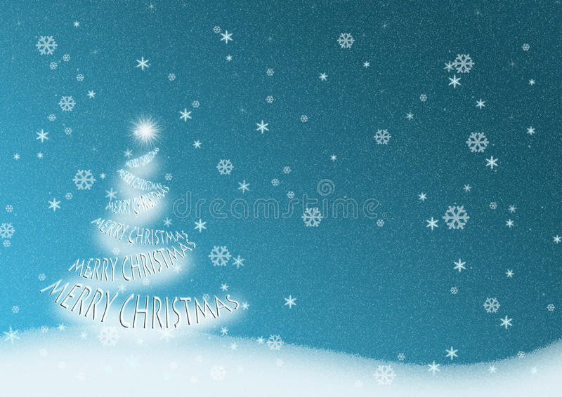 Merry Christmas Tree Stock Illustration Image Of Hill