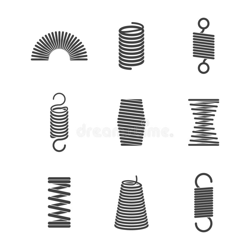 Two coils of steel wires stock illustration. Illustration