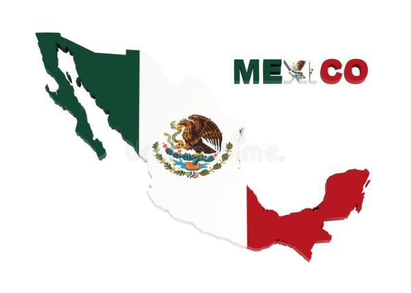 Mexico Map With Flag Isolated On White Stock