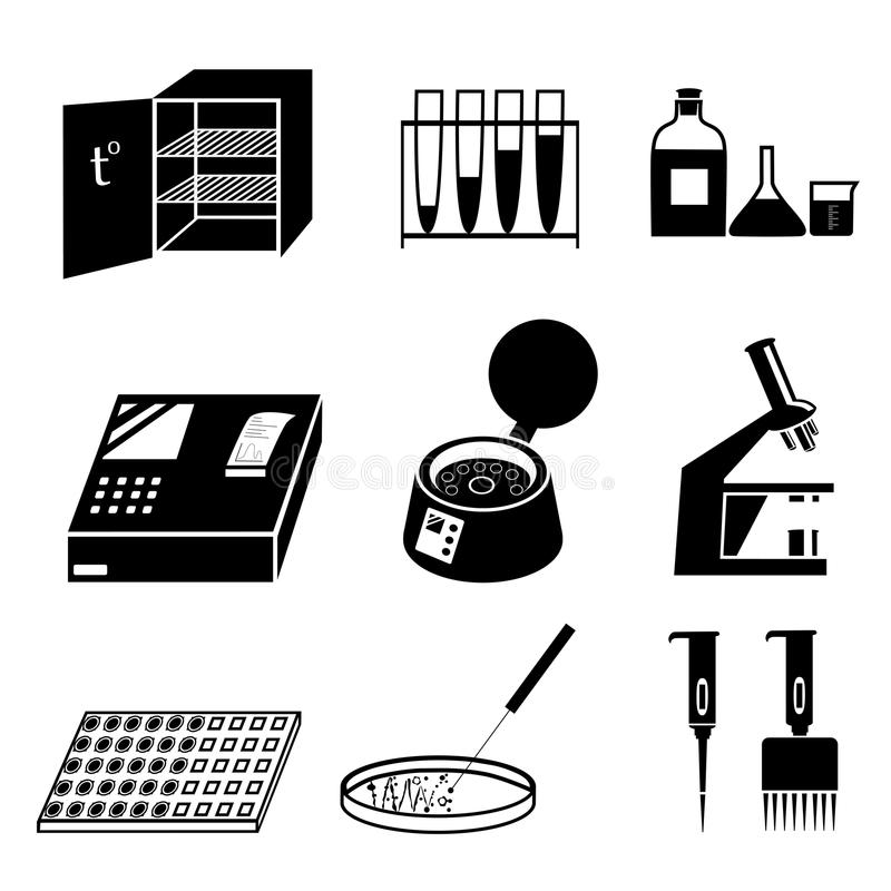 Microbiology icons stock vector. Illustration of bottle