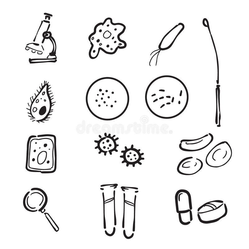 Microbiology Lab Doodle Icons Set Stock Vector