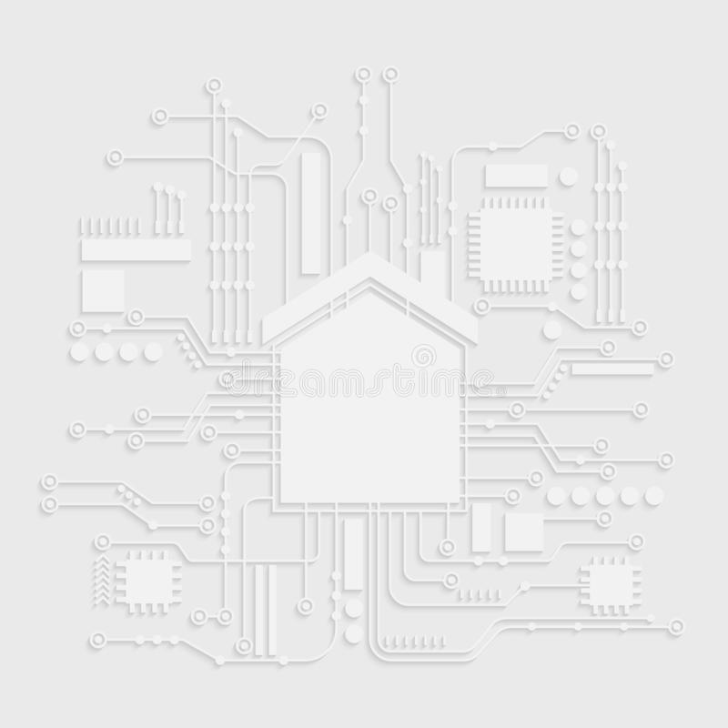 Microchip White House Icon. Home Automation Vector