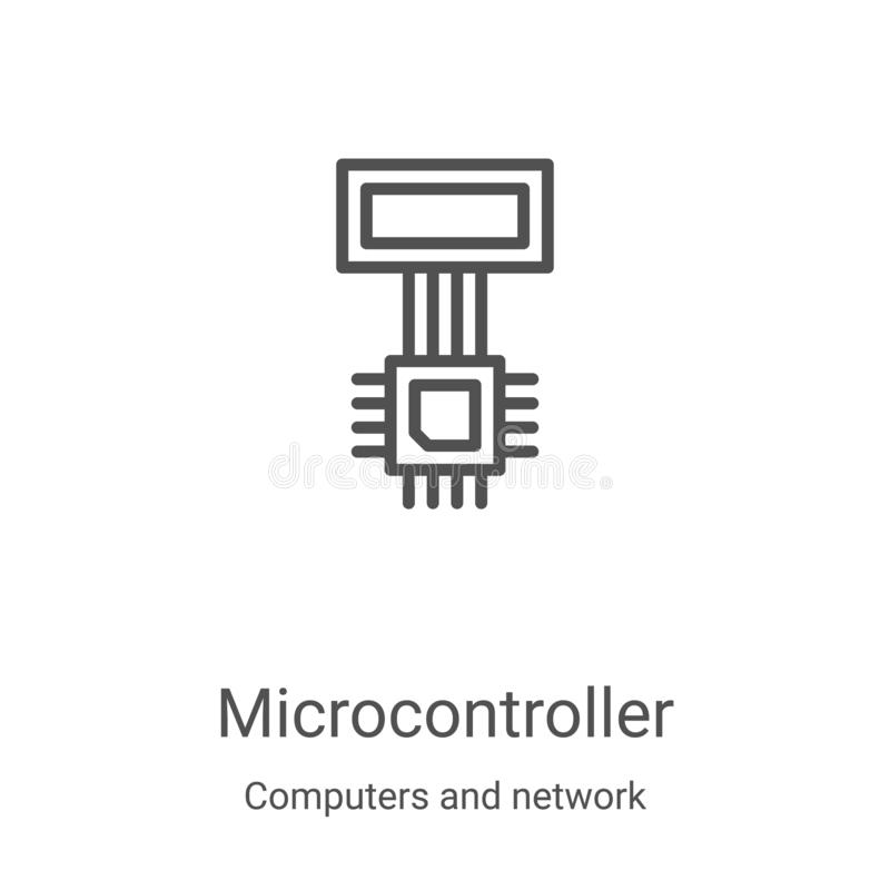 Chip Microcontroller Logo, Simple Gray Style Stock Vector