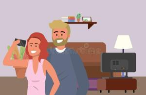 millennial indoors selfie couple television couch lamp living redhead