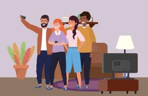 indoors millennial diverse selfie taking illustrations vectors