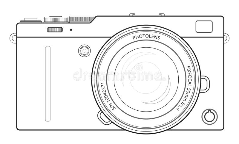 Mirrorless compact camera stock vector. Illustration of