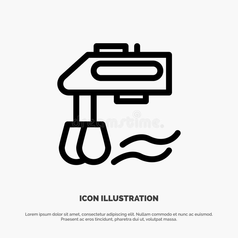 Mixer, Kitchen, Manual, Blender Vector Line Icon Stock