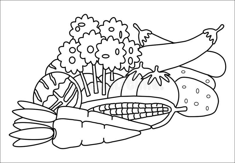 Coloring book vegetables stock vector. Illustration of